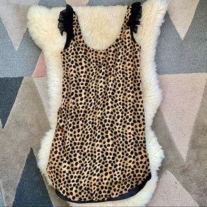 Miguelina XS silk mini dress leopard print ruffle